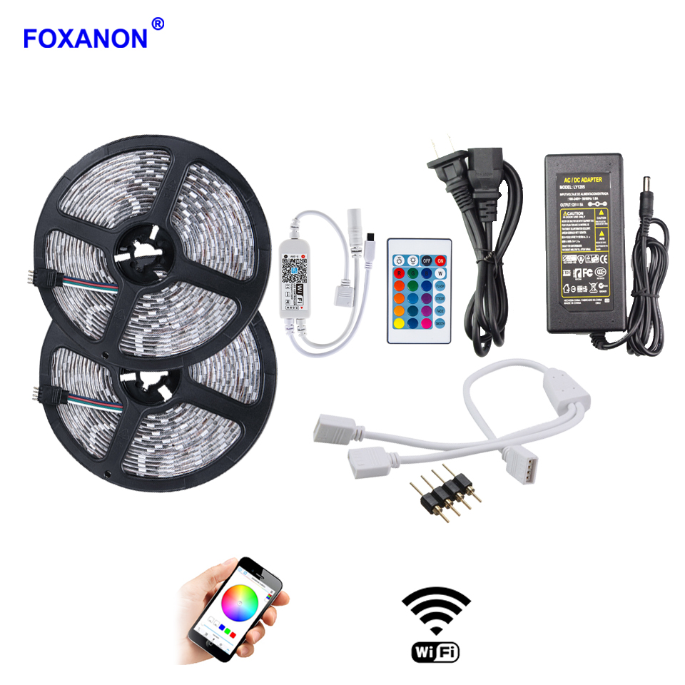 Foxanon 5-10M 5050 SMD Waterproof RGB LED Strip Lights Tape Lamp 24Key WiFi Remote Controller 12V Power Supply Adapter EU PlugFoxanon 5-10M 5050 SMD Waterproof RGB LED Strip Lights Tape Lamp 24Key WiFi Remote Controller 12V Power Supply Adapter EU Plug