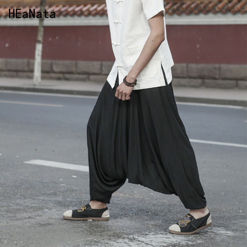 Men Joggers Cotton Indian Harem Pants Men Big Crotch Pants Nepal Baggy Linen Pants Men Hip Hop Pure Color Big Male Drop Crotch