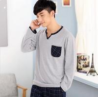 100 Cotton 2016 Spring Autumn Male Sleepwear Mens Pajamas Long Sleeve O Neck Pullover Plaid Lounge
