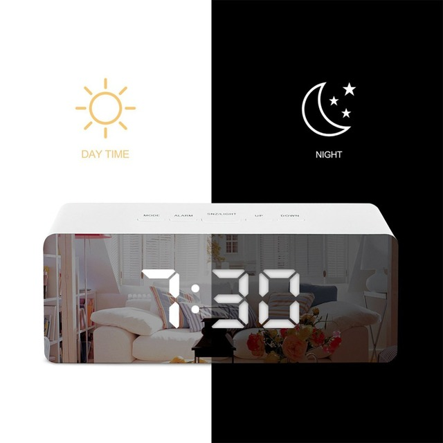 LED Mirror Alarm Clock Digital Snooze Table Clock Wake Up Light Electronic Large Time Temperature Display Home Decoration Clock 3