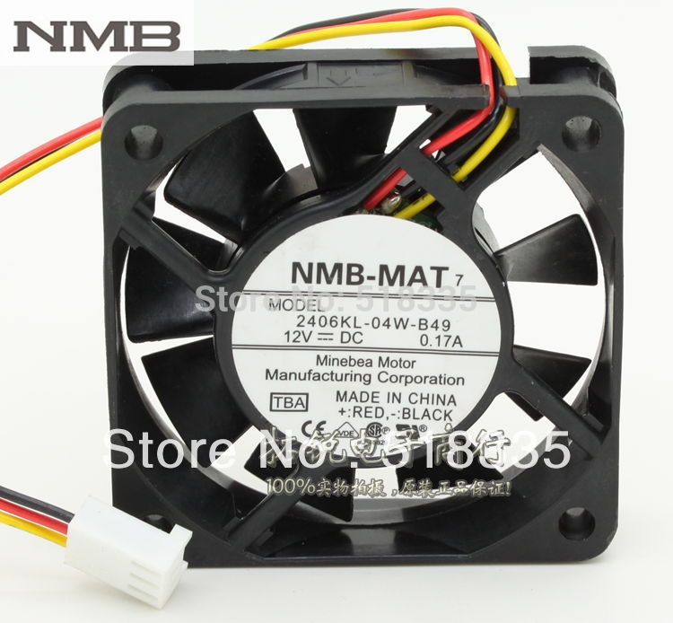 For NMB 2406kL-04W-B49 6015 6cm 12V 0.17A three-wire alarm server inverter cooling fan