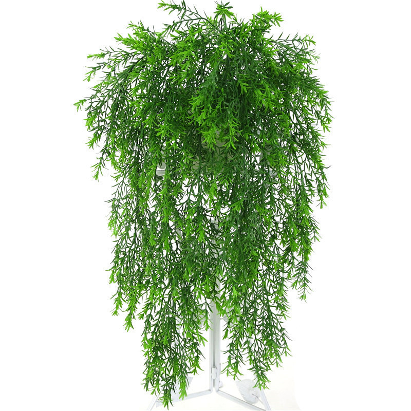5 Forks Artificial Plastic Persian Fern Tree Leaves Simulation Green Plant Fake Leaves Rattan Home Garden Wall Decoration 85cm