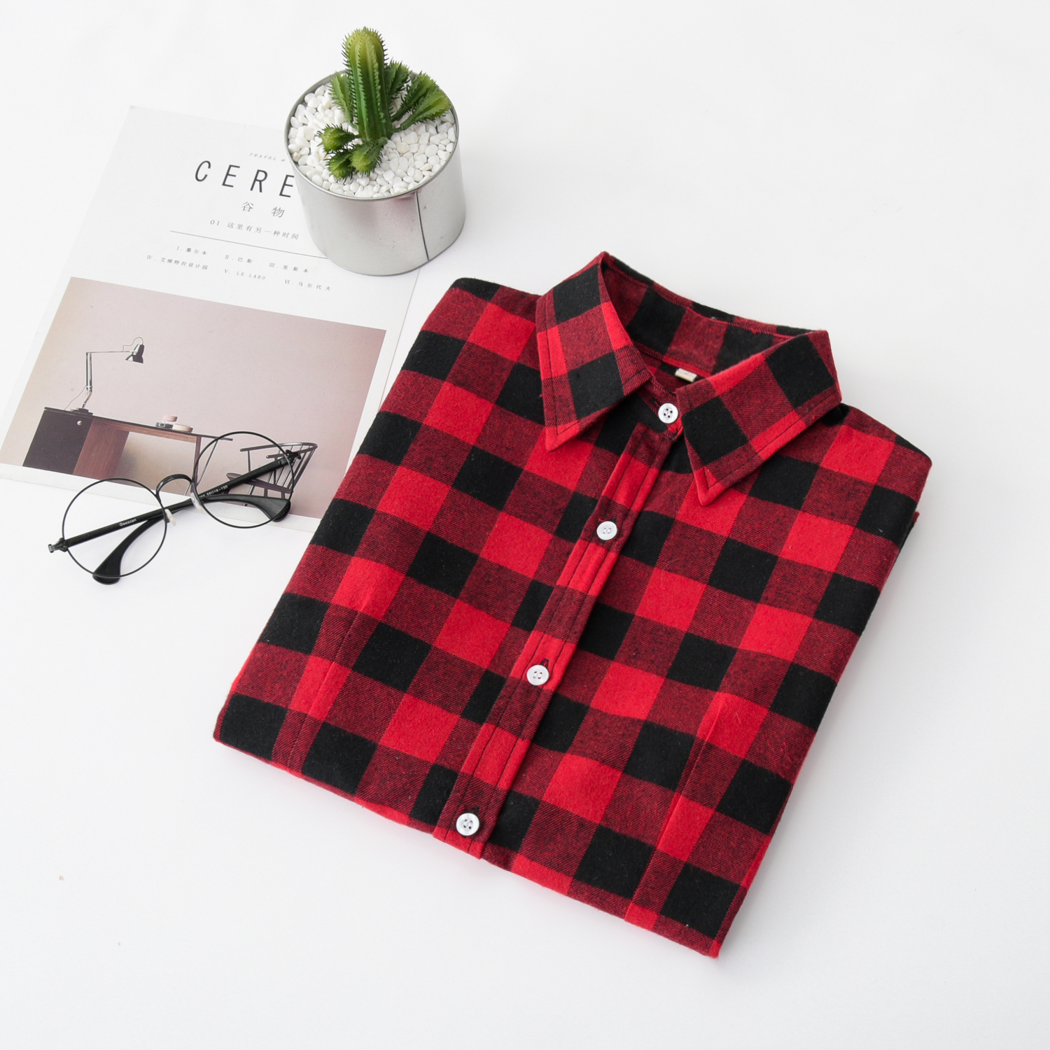 d32b0f01faa38 Dropwow 2018 Women Blouses Brand New Excellent Quality Flannel Red ...
