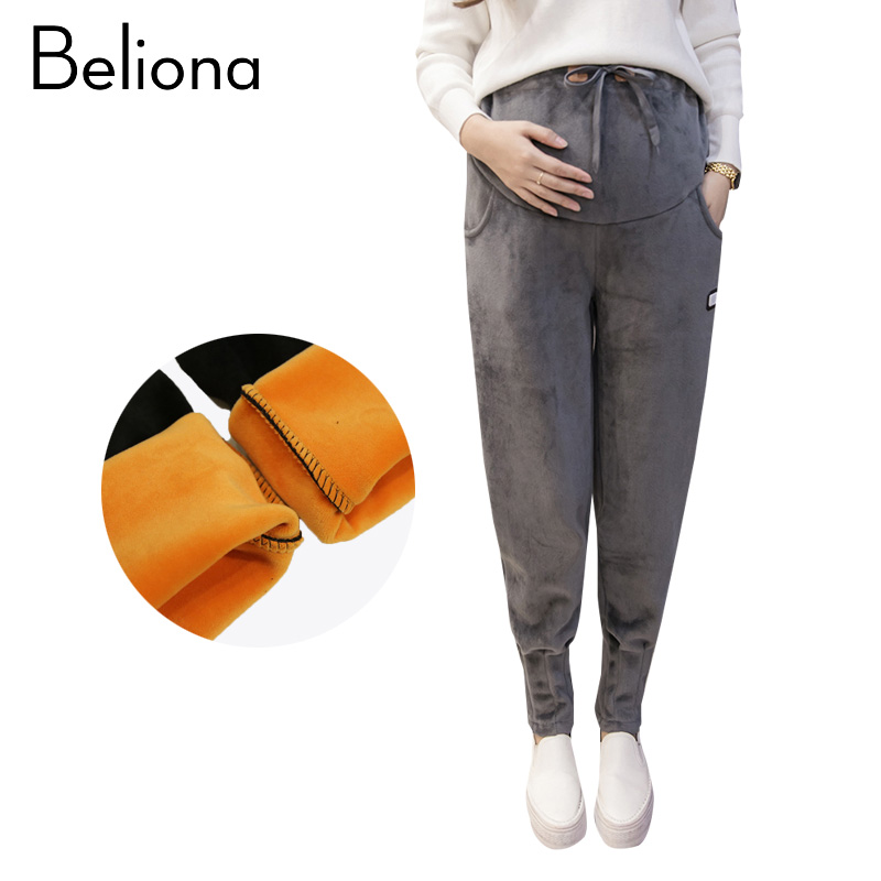 2017 Winter Autumn Velvet Warm Maternity Sports Pants for Pregnant Women Casual Maternity Clothes Pregnancy CLothing Trousers