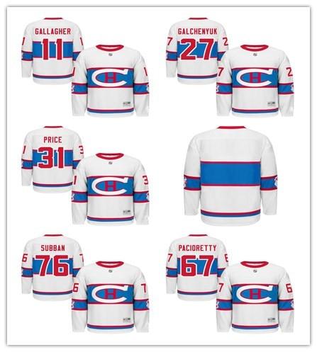 18bacb908 2016 Winter Classic 31 Carey Price 67 Pacioretty 76 PK Subban 11 Gallagher  27 Galchenyuk Blank Montreal Canadiens Hockey Jerseys
