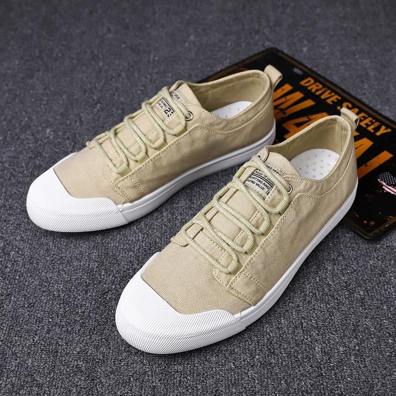 Baskets en toile respirante pour hommes à lacets couleur unie en plein air chaussures de travail décontracté hommes chaussures d'été chaussures décontractées