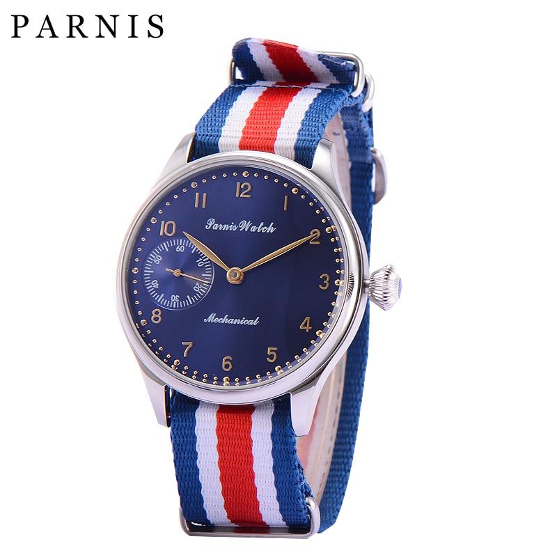 лучшая цена Fashion 44mm Parnis Watches Men Hand Winding Mechanical Dark Blue Dial Stainless Steel Case Men's Wrist Watch Nylon Watchband