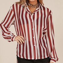Sexy Fashion Red and White Striped Print Long Sleeve Chiffon Blouse Lapel Bracelet Shirt Office Lady Womens Tops And Blouses(China)
