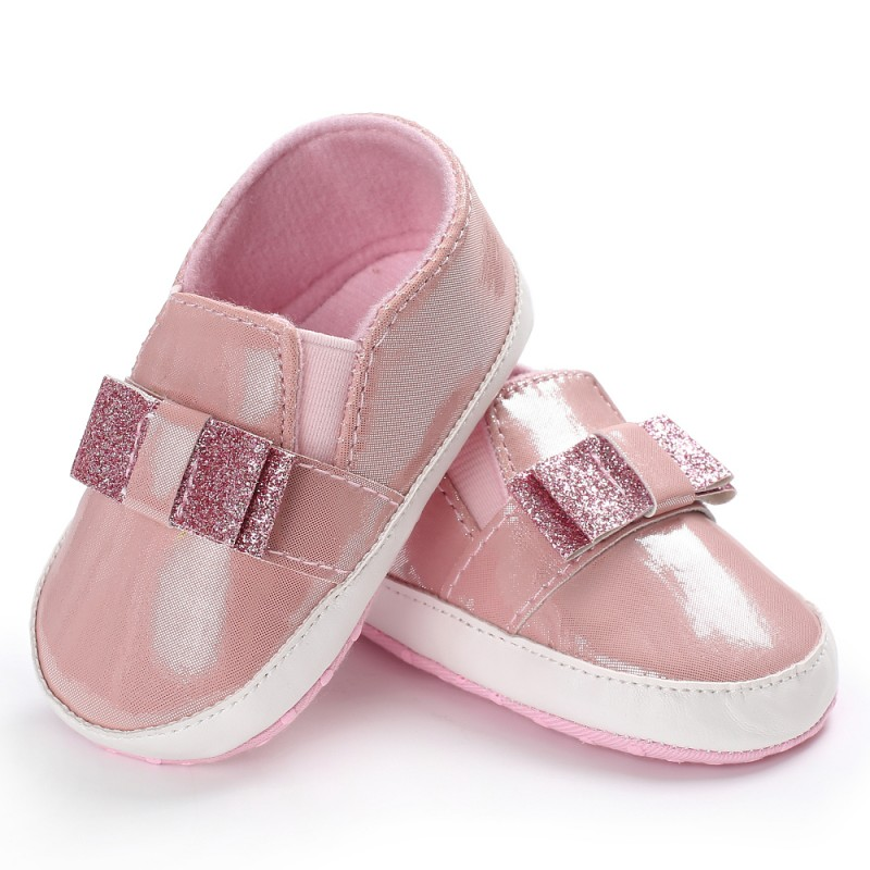 Newborn Bling Sequins Bow PU Leather Baby Shoes First Walkers Leisure Baby Moccasins Sneaker Soft Sole