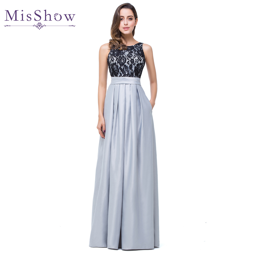 New Scoop Neckline Black Lace Gray Satin A Line Long Elegant   Bridesmaid     Dress   2019 Silver Champagne Purple Wedding Party   Dresses