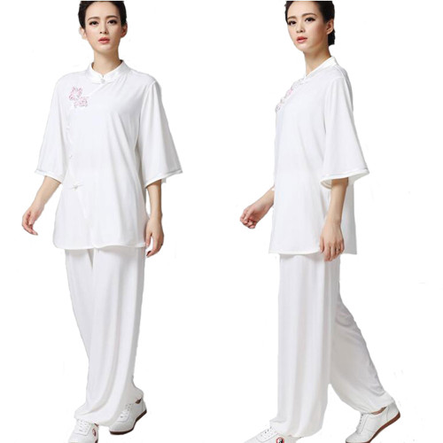 New High Quality Women Crystal Flax Martial Arts Suit Taichi Clothing Bevel Lappet Short- Sleeved Suit Morining Sleeve Dress