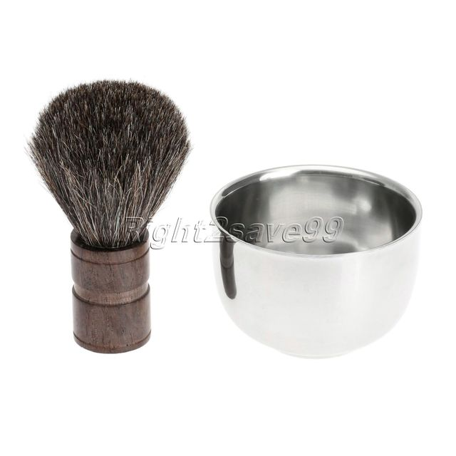 Men's Badger Hair Shaving Brush in Faux Ebony Handle 27mm Base knot Pincels Beard Brushes With Stainless Steel Shaving Bowl