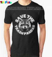 Teeplaza T Shirts Male Low Price Steampunk Men'S Crew Neck Short Sleeve Compression Save The Trash Pandas Raccoon T Shirts