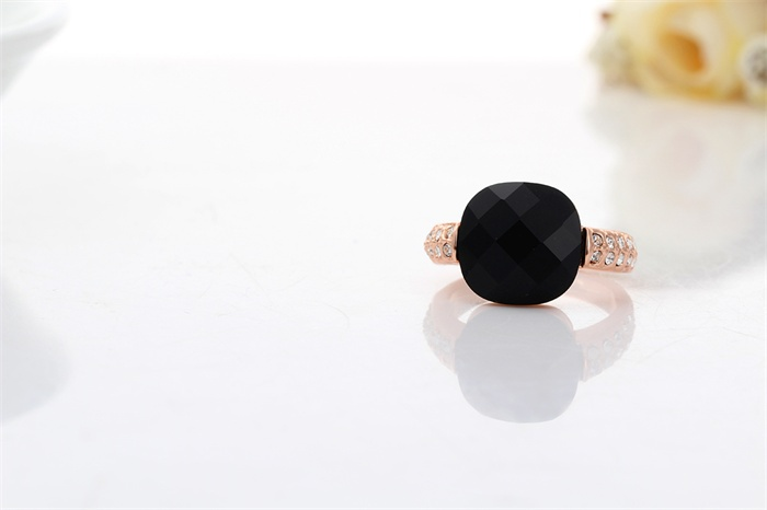 New Rose Gold Color Square Faceted Big Black Stone w Crystal