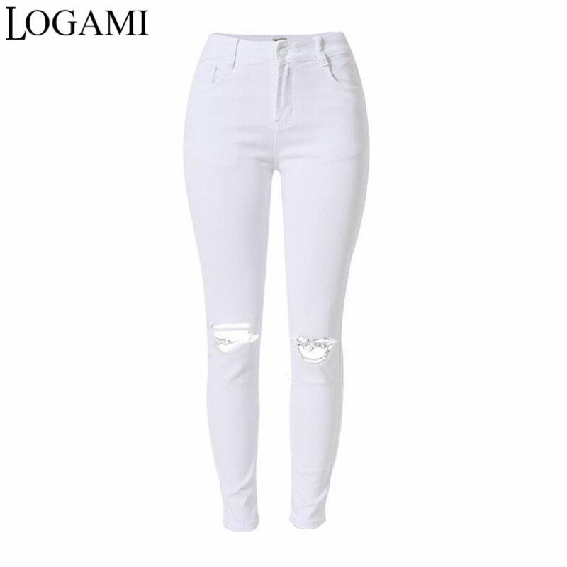 88a48cc666e77 Mode Femme et Accessoires LOGAMI Blanc Jeans Femmes Crayon Déchiré Pantalon  Dames Taille Haute Denim Skinny ...