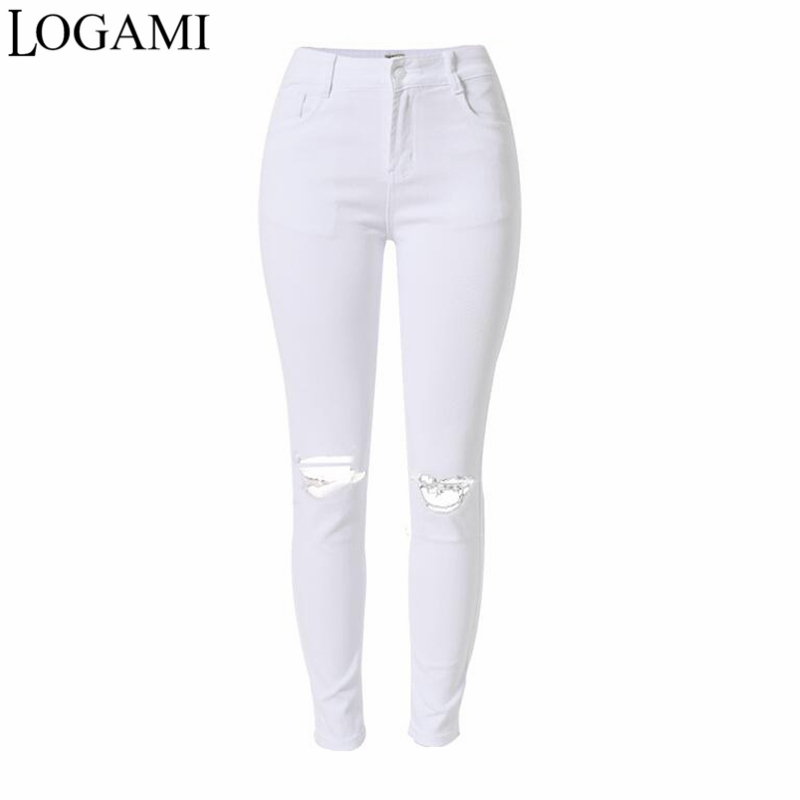 LOGAMI White Jeans Women Pencil Ripped P