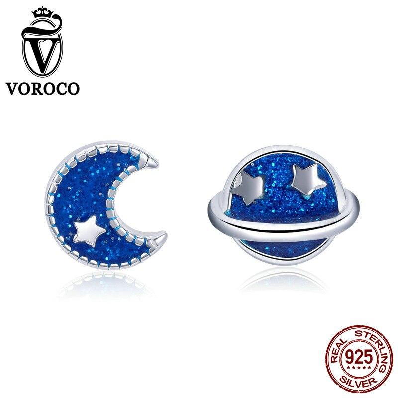 VOROCO Stud Earring Jewelry Moon Blue Women 100%925-Sterling-Silver Star Wedding