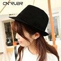 CN-RUBR Мода Сплошной Черный Cap Женщины Дамы Классический Британский Джаз Шляпа Подходит Для All Seasons Хлопок Шляпы Хип-Хоп Шляпы Chapeu