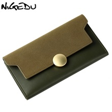 Здесь можно купить  NIGEDU brand design Vintage Matte women wallets Long thin lady wallet PU leather Ladies clutch purse Clutches carteira Card pack  Wallets & Holders