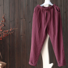 New 2016 Autumn Fashion Wide Leg Cotton Linen Pants Women Original Causal Elastic Waist Loose Bottom solid elastic Roll-ups Pant