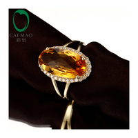 Caimao Jewelry 5.03ct Yellow Citrine Gem Diamond Engagement Ring Stunning
