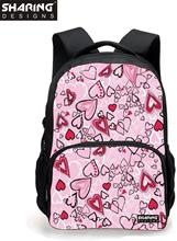 3D cute Heart-shaped print women backpack heart school backpack for teenage girls large capacity student casual laptop rucksack