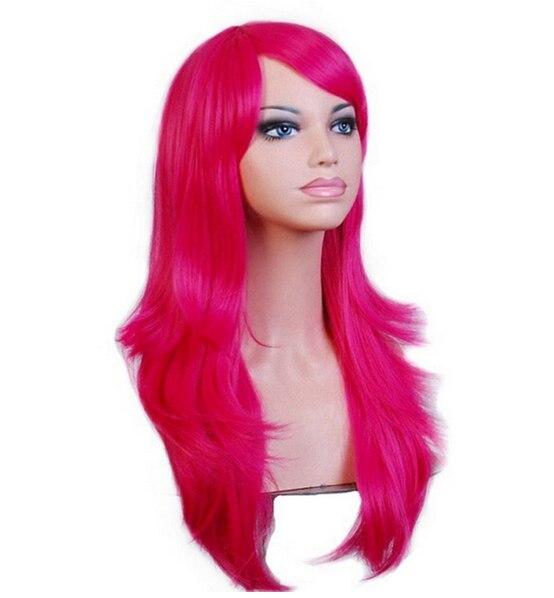 QQXCAIW Long Ondulé Cosplay Perruque Rouge Vert Puprle Rose Noir Bleu Ruban Gris Blonde Brun 70 Cm Synthétique Cheveux Perruques 2