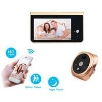 2 4GHz Wifi Smart Peephole Video Doorbell PIR Motion Detection 720P HD Camera Night Vision APP