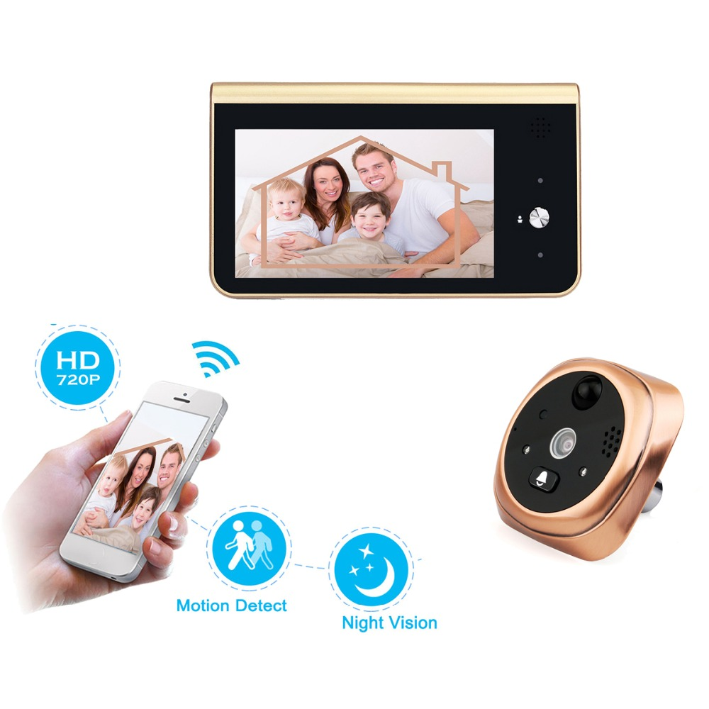 2.4GHz Wifi Smart Peephole Video Doorbell PIR Motion Detection 720P HD Camera Night Vision APP Control for iOS Android F1441J kinco night vision video doorbell smart home wifi remote control hd waterproof dtmf motion detection alarm for phone