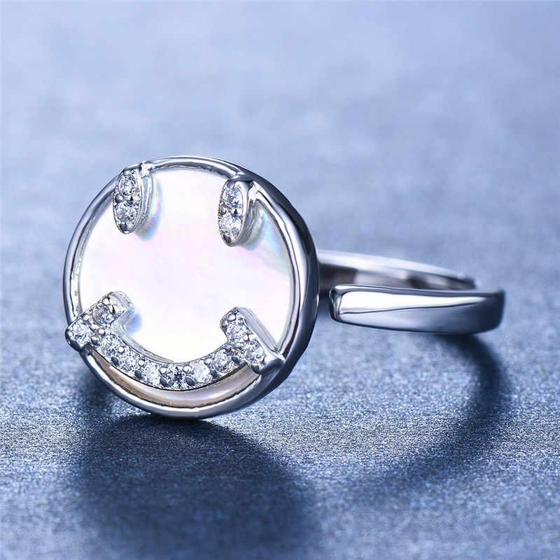 Lindo anillo redondo sonrisa 100% Real 925 anillo de plata de ley encantador Anillos de Compromiso de boda para mujeres
