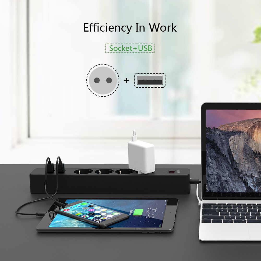 NTONPOWER inteligentna listwa zasilająca gniazda ue wtyczka przełącznik przeciążeniowy zabezpieczenie przeciwprzepięciowe 4 wylot 4 Port USB ładowarka-1.8 M przedłużacz