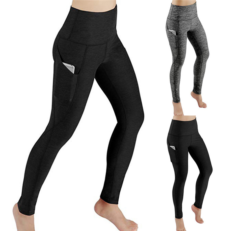 Fashion causal Elasticity sport pants Women Solid Workout Out Pocket   Leggings   Fitness Sports Gym Running Athletic Pants #SA