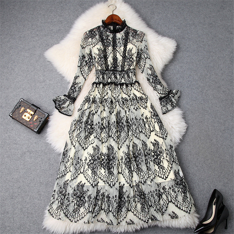 New 2019 Spring Dress Woman Fashion Designer Flare Long Sleeve White Black Transparent Sexy Mid Calf