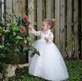 Branco marfim princesa rendas flor meninas vestidos longos vestido Pageant comunhão festa de aniversário de manga