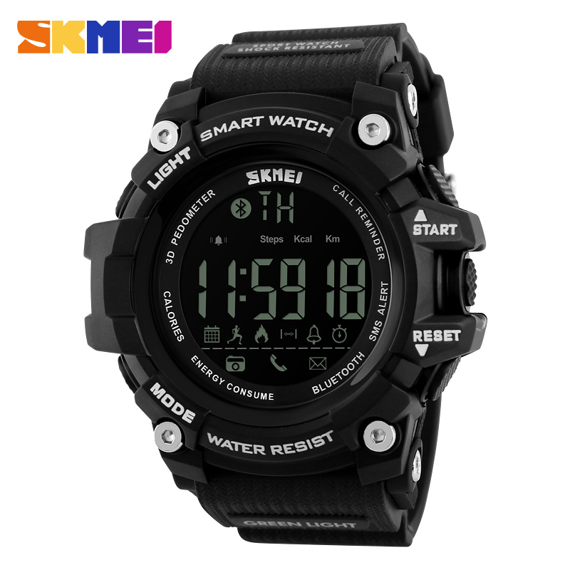 SKMEI Pedometer Smart watch Men Remote Camera LED Digial Sport Watch APP