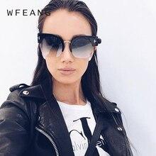 WFEANG Vintage New Elegant Cat Eye Sun Glasses For Women Black Frame Shades Lunette Sunglasses Gradient Lens Ladies  uv400