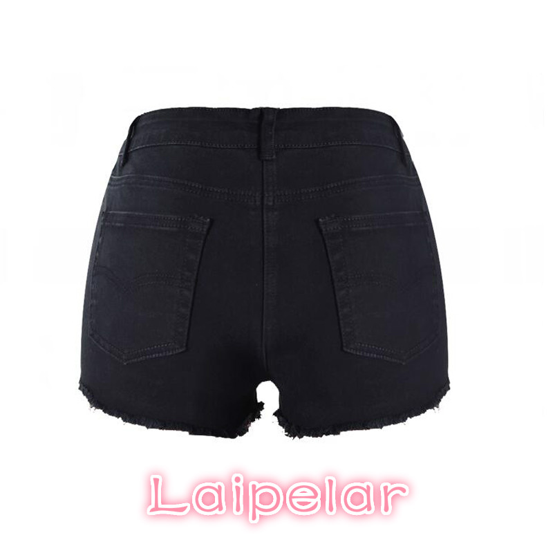 2018 Summer Jeans Shorts Women Casual Trouser High Waisted Shorts Black Sexy Ripped Short Denim Shorts For Women Laipelar