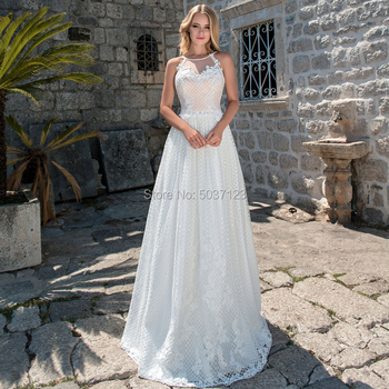 Beach Sleeveless Wedding Dresses O Neck Lace Appliques Floor Length Lace Up Bridal Gown Marriage Vestido De Novias 2019
