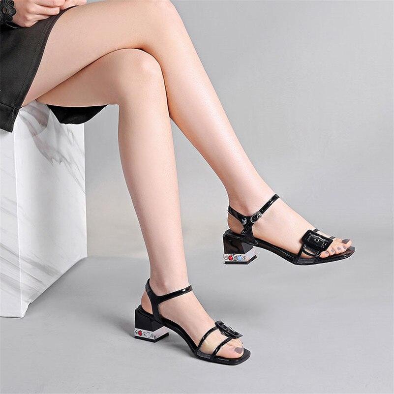 Sandalias De Cuero Zapatos Las Calidad Fedonas Fiesta Mujeres Tacones Mujer Bombas Charol Extraño Negro Dulce Casual blanco Casuales Nueva Verano Eqf48T