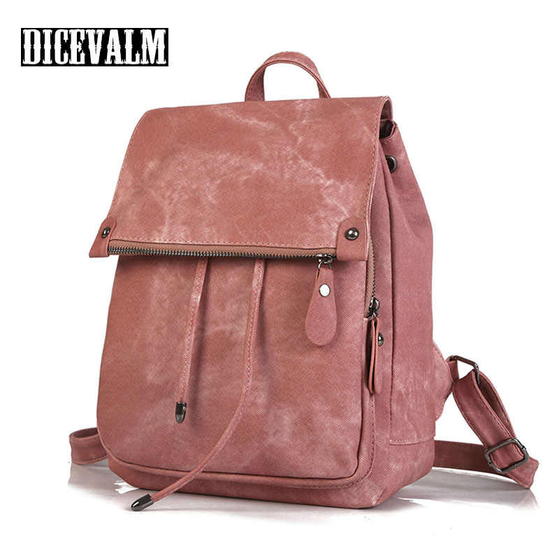 Preppy Style Women'S Backpack Female Leather Shoulder Bag Fashion Solid Ladies School Bags For Teenage Girls Satchel Daypack