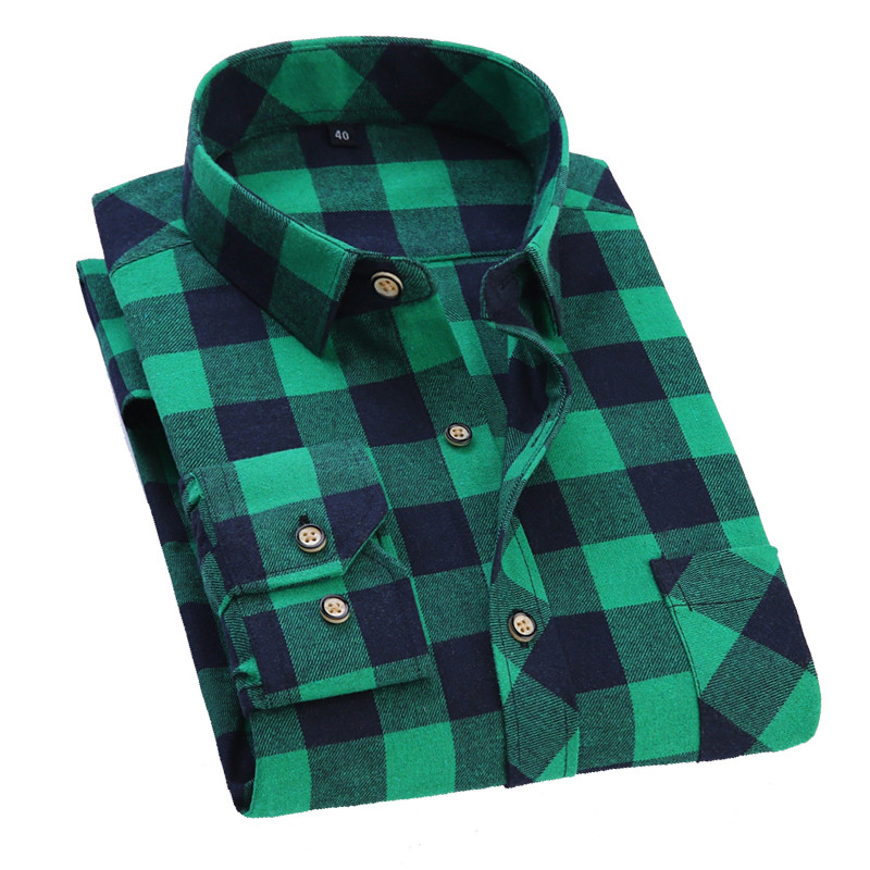 Men Flannel Plaid Cotton Spring Autumn Casual Long Sleeve Soft Cherecked Loose Shirt