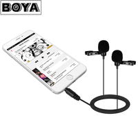 BOYA BY LM400 Dual Omnidirectional Condenser Lavalier Microphone For IPhone Xiaomi Android Smartphone Video Record Interview