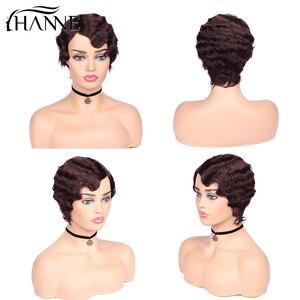 Image 4 - Perucas de cabelo humano curto da peruca da onda do dedo perucas de cabelo da mamã para a cor natural preta das mulheres/99j/4 #/27 #/30 # hanne cabelo