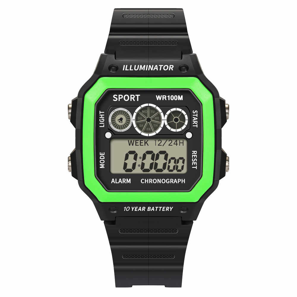גבוהה סוף 50 מטרים עמיד למים אלקטרוני שעון יוקרה גברים אנלוגי דיגיטלי שעון צבאי ספורט LED כיכר את איש שעון יד * S