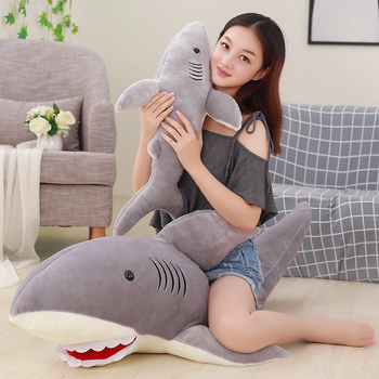 50cm-130cm Plush Sharks Toys Stuffed Animals Simulation Big Sharks Doll Pillows Cushion Kids Toys for Children Birthday Gifts 220cm stuffed animals giant removable crocodile doll for decorative pillows kids toys valentines day gift juguetes brinquedos