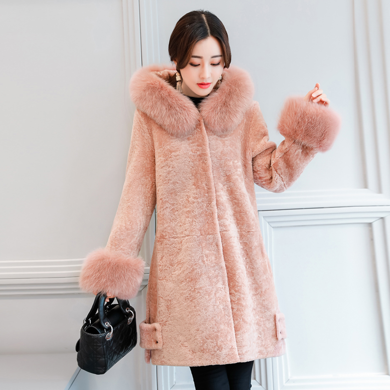 2017 Winter New Arrival Women Jacket&Coat Elegant Fox Fur Collar Hooded Parkas Shorn Sheepskin Fashion Woolen Overcoat MY0102 2017 winter new clothes to overcome the coat of women in the long reed rabbit hair fur fur coat fox raccoon fur collar
