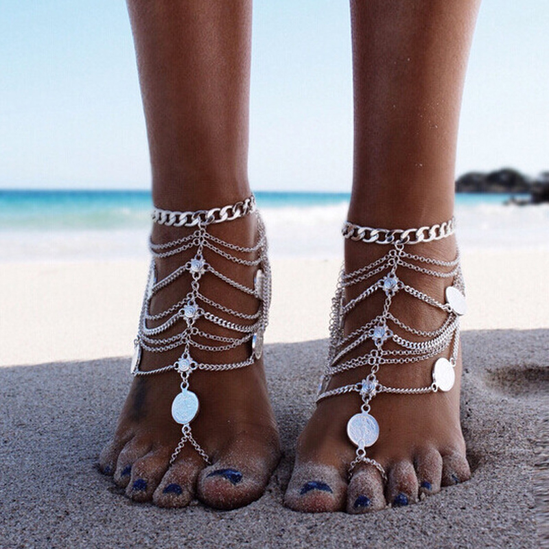 New Women's Vintage Beach Heavy Metal Punk Coin Multilayer Tassel Chain Single Anklets Body Jewelry Wholesale Summer style