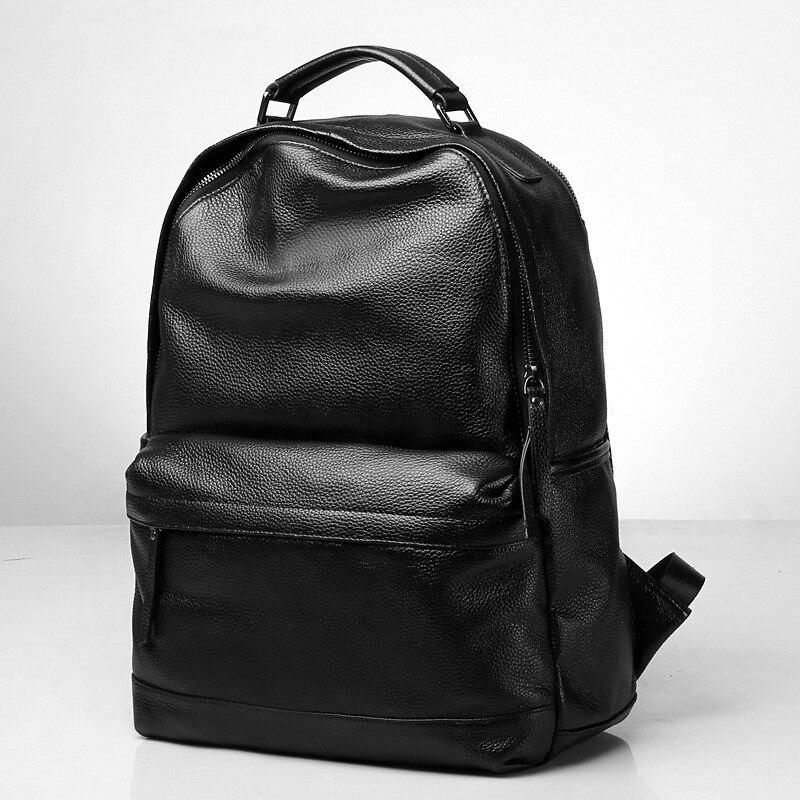 """Mode echt leer mannen rugzak Grote capaciteit 15 """"laptop tas reistassen leisure natuurlijke koeienhuid student schooltassen-in Rugzakken van Bagage & Tassen op  Groep 2"""