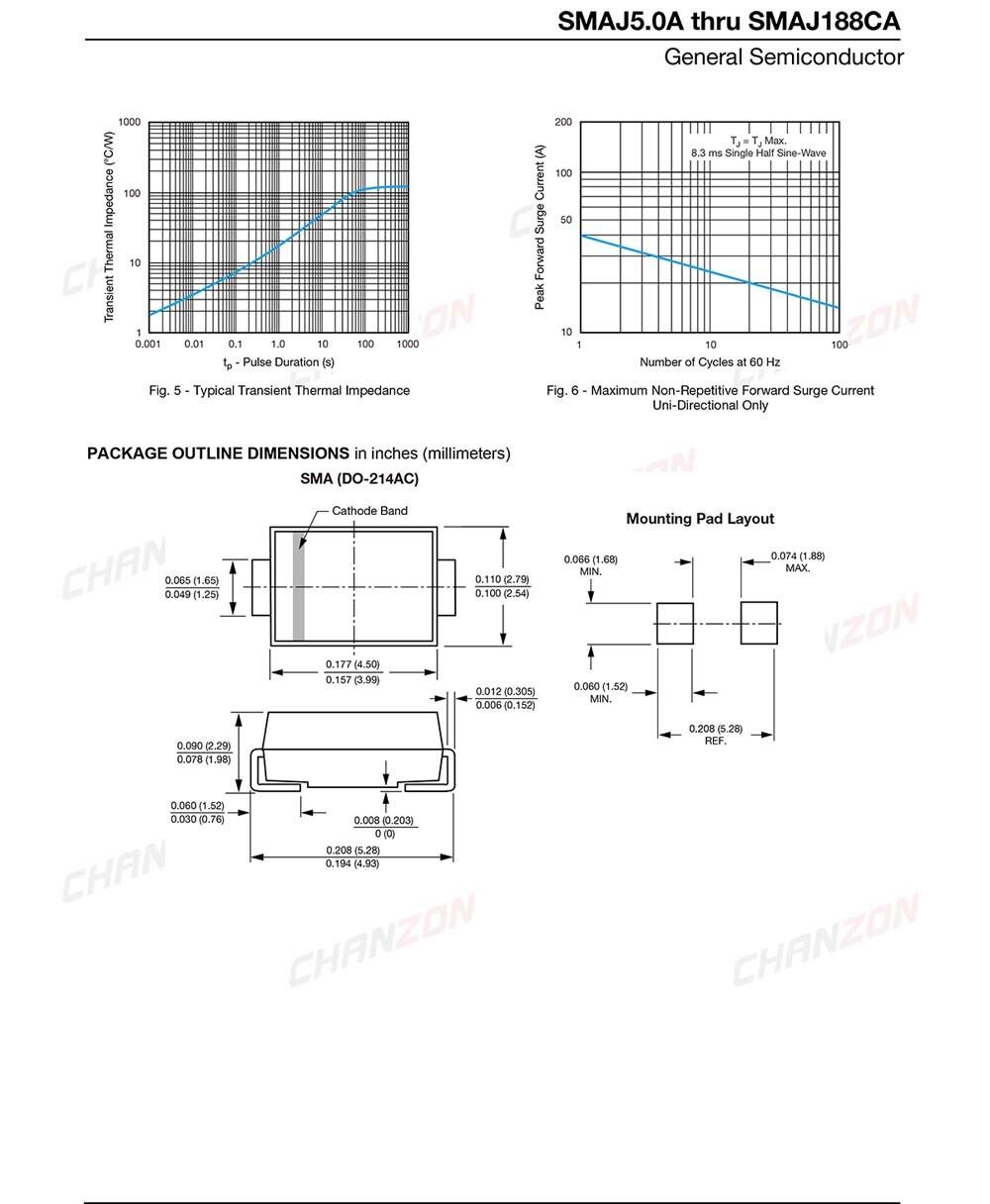 5V 400W TVS DIODE DO-214AC SMAJ5.0CA Pack of 5 BIDIR