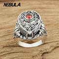 Vintage Treasure Box Ring With Red CZ real 925 sterling silver 925 jewelry for Women men wedding ring fashion jewelry
